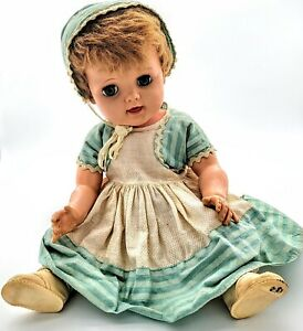 """Vintage 1950's 20"""" Baby Drink 'n Wet Baby Doll Original Outfit Possibly Ideal"""