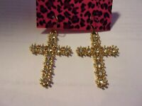 NWT BETSEY JOHNSON CRYSTAL CROSS EARRINGS