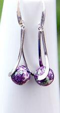 Purple Green White porcelain earrings silver plated  elegant hooks new
