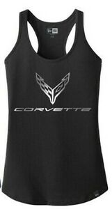 Ladies C8 Corvette New Stingray Foil Racerback Tank Top Black Buds Chevrolet
