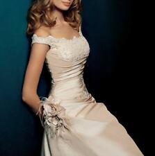 Champagne Vintage Off Shoulder Wedding Dress Lace Satin A Line Bridal Gown New