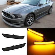 Front Side Marker Lamps Smoked Lens Amber LED Lights Kit For 10-14 Ford Mustang