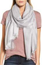 NORDSTROM Cashmere Blend Silver Gray Sconce Eyelash Scarf Wrap NEW Retail $99.00