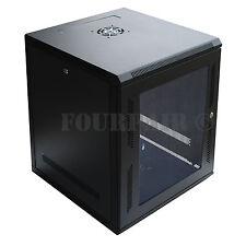 """12U Wall Mount IT Server Network Cabinet Rack Enclosure Glass Door Lock 18"""" Deep"""