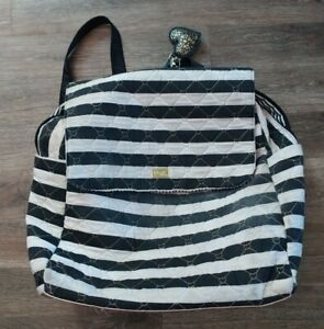 Luv Betsey Johnson Striped Quilted Striped X-Large Backpack Zipper