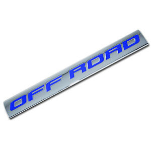 CHROME/BLUE METAL OFF ROAD ENGINE RACE MOTOR SWAP BADGE FOR TRUNK HOOD DOOR