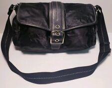 Coach Women's Black Nylon Lether Trim Multi Pockets Shoulder Bag Handbag! #1897