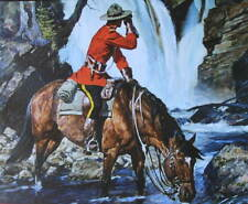 Vintage Canadian Mountie RCMP Horse at Waterfall