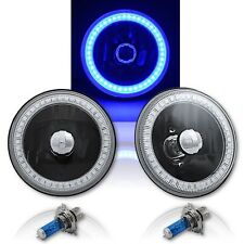 "5-3/4"" Blue SMD LED Halo Angel Eye Black Halogen Light Crystal Headlight PAIR"