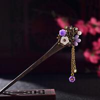 Vintage Women's Flower Rhinestone Hair Chopsticks Hair Stick Hairpin Chignon Pin