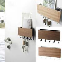 Wall Mounted Wooden Key Letter Holder Storage Box Hanger Shelf Hook Home Decor