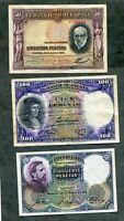 LOTE 3 BILLETES 100 PESETAS 1931  , 50  1931 Y  50  1935  los 3 EBC -