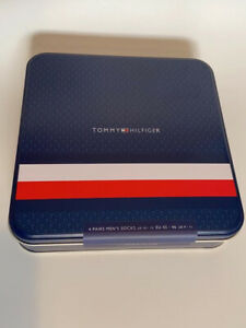 Tommy Hilfiger Mens Socks Gift 4 Pack Gift Tin Size UK 9 - 11 (43-46) Dark Navy