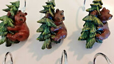 Lodge Cabin Bear/Tree Shower Curtain Hooks 11 pcs