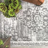 Grey Distressed Traditional Rugs Soft Medallion Living Room Rug Hallway Runner