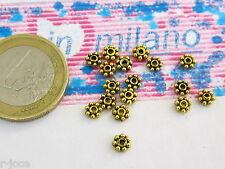 25  rosette in argentone dorato   invecchiato del diametro di  3,5 x 0,8 mm nn