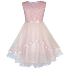 Sunny Fashion Flower Girls Dress Blush Belted Wedding Party Bridesmaid Size 4-12 4
