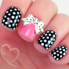 5Pcs Lovely Rhinestone Bow Polka Dot Design Studs Crafts 3D Nail Art Decoration