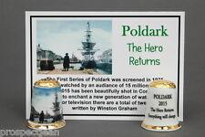 Poldark The Hero Returns To Cornwall Gold Topped China Thimble+ Photo Card B/102