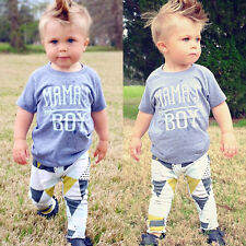 US Newborn Baby Mama's Boy T-shirt+ Long Pants Outfit Clothes Playsuit 18-24M 04