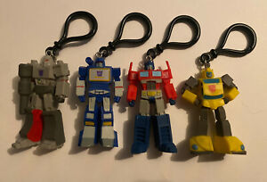 Lot of 4 Transformers G1 Keychain Bag Backpack Clip Megatron / Bumblebee / Etc