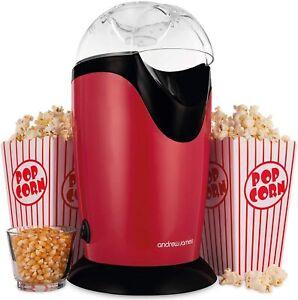Andrew James Popcorn Maker Machine   Classic Popcorn Air Popper 8 Serving boxes