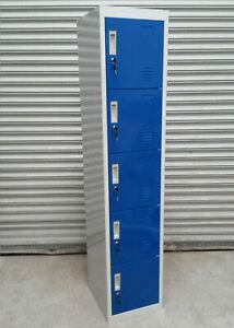 QUALITY FIVE 5 BLUE DOOR STEEL METAL LOCKER STORAGE GYM OFFICE WORK - RRP £150