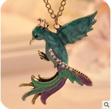 Colorful Enamel Phoenix Necklace ~ Large Phoenix Pendant Rhinestones Long Chain