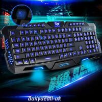 LED Illuminated Multimedia USB Wired 3 Colour Backlight Backlit Gaming Keyboard