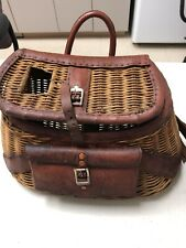 Vintage antique fisherman's trout & fly fishing creel basket.