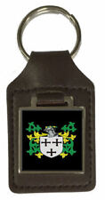 Bradnum Family Crest Surname Coat Of Arms Brown Leather Keyring Engraved