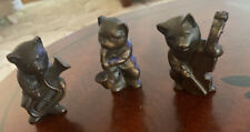 Vintage Three Cats Playing Musical Instruments  Cast Bronze.