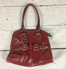 Red Laura Jones womens faux leather satchel shoulder bag vintage style