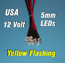 10 FLASHING LEDS 5mm PRE WIRED 12 VOLT YELLOW 12V BLINK