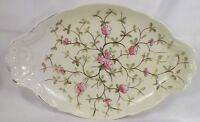 Vintage PINK FLOWERS on YELLOW PORCELAIN SERVING PLATTER DISH PLATE As Is Cond