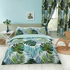 Tropical Palms Single Duvet Cover and Pillowcase Set Nature Chevron