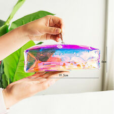 Kawaii Women Makeup Pouch Colorful Laser Transparent Pencil Case Cosmetic Bag