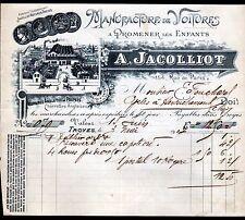 """TROYES (10) USINE de VOITURES Anglaises de POUPEES """"A. JACOLLIOT"""" en 1907"""