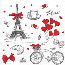 Lot de 2 Serviettes en papier J'aime Paris Decoupage Collage Decopatch