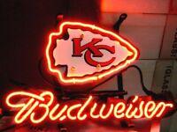 """BUDWEISER BUD LIGHT KANSAS CITY CHIEFS FOOTBALL BEER JERSEY CAP NEON SIGN 13""""x8"""