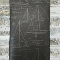 Wallquest Historical Sail Nautical Blueprint Charcoal Linen Texture Wallpaper