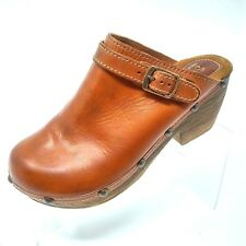 Sbicca Womens Shoes Size 8 Medium Clogs Brown Leather Mules Heels Casual Career