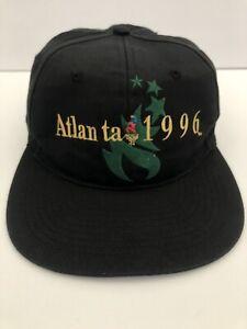 Vintage Atlanta 1996 90's Olympics Torch Georgia Black Snapback Hat Cap EUC
