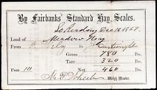 Vintage 1867 Hand Signed Fairbanks Standard Hay Scales Weigh Receipt