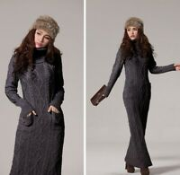 dc461d11b92 Women s Winter Warm Turtleneck Chunky Knit Blend Pullover Maxi Sweater  Dress New
