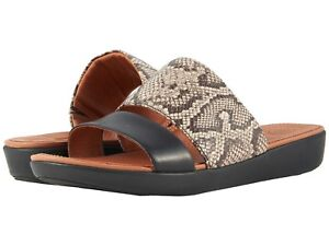 Women's Shoes FitFlop DELTA Leather Slide Sandals K30-586 TAUPE SNAKE/ BLACK
