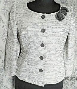 Beige & brown cotton mix formal party wedding jacket by PRECIS PETITE Size 12