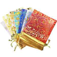 50 Mixed ORGANZA Favour BAGS GOLD PRINT Gift Jewellery Pouch Wedding 15 x 12cm