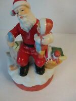 Vintage Christmas Midwest Musical Santa Plays Wish You A Merry.   Wind Up Figure