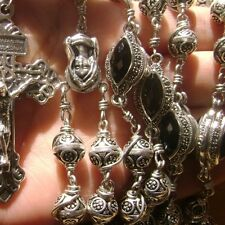 Bali Sterling Silver Beads & Cross CATHOLIC Wire Wrapped Rosary NECKLACE box